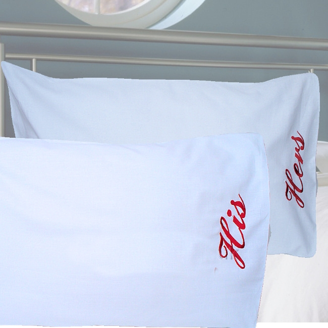 personalised pillowcases embroidered his and hers pillow cases