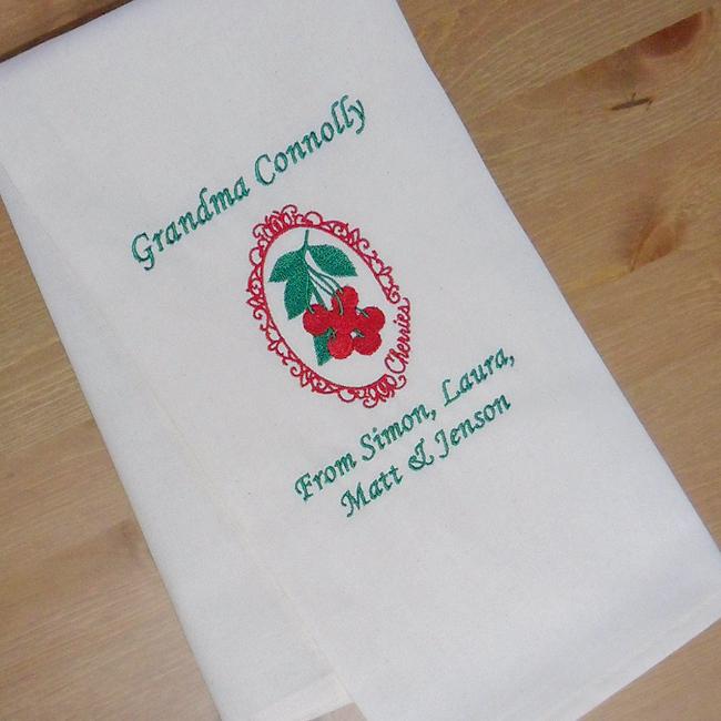 Cherries Tea Towel Personalised Embroidered Kitchen Towel