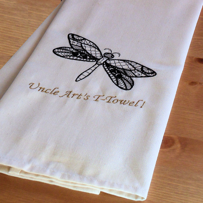 Dragonfly Tea Towel Embroidered Drying Up Towel