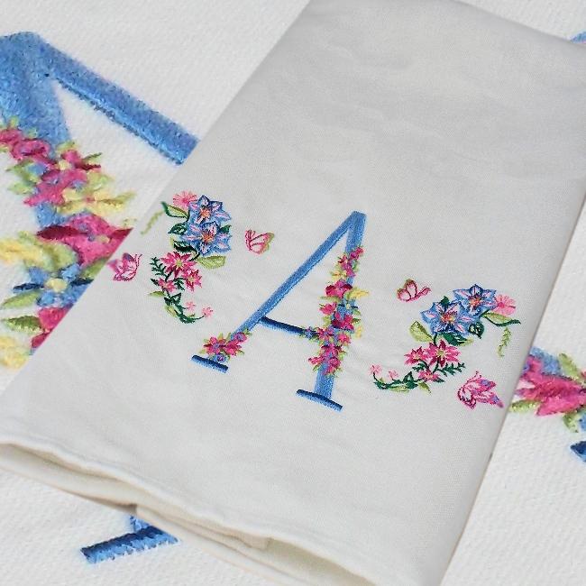 Monogram Tea Towel Floral Embroidered Initial