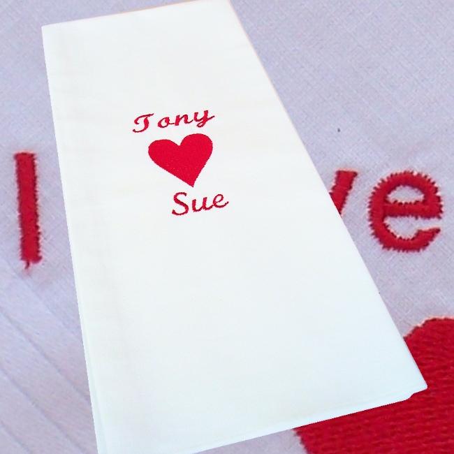 Personalised Tea Towel Love Heart Drying Towel