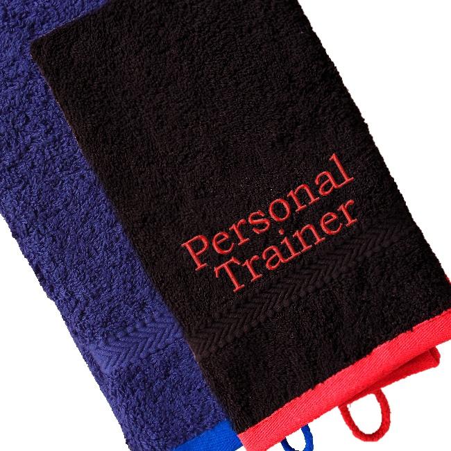 Sports Gym Towel: Gym Towel Personalised Gym Towel Black With Red Trim