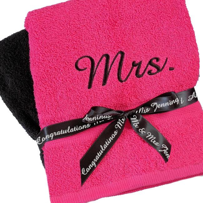 Personalised Towels Pink And Black Bath Set