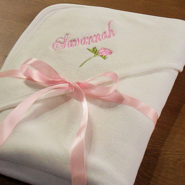 Rose Embroidered Towels: Personalised Baby Towel Rose Embroidered Hooded Towel