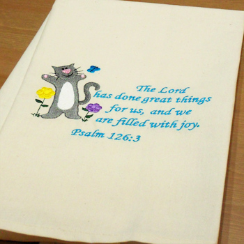 Embroidered Tea Towel Joyful Cat Towel