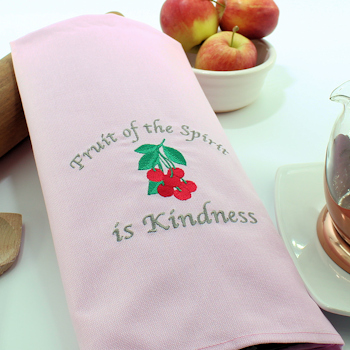 Pink Tea Towel Fruit of the Spirit is Kindness