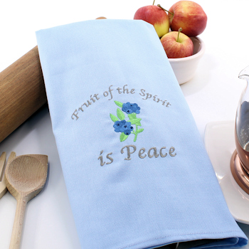 Blue Tea Towel Fruit of the Spirit is Peace