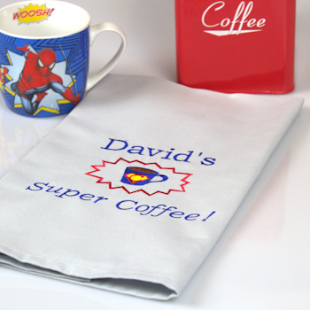 Super Coffee Tea Towel Gift Personalised Blue Tea Towel