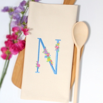 Initialled Tea Towel Floral Embroidered Monogram