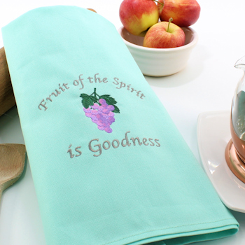 Mint Green Tea Towel Fruit of the Spirit is Goodness