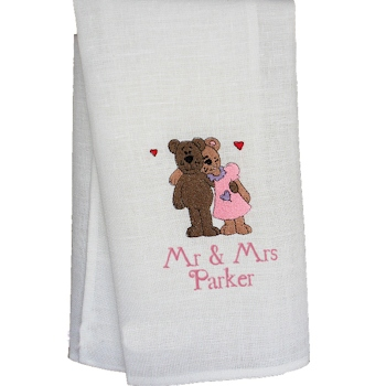 Wedding Anniversary Tea Towel Embroidered Mr and Mrs Teddy