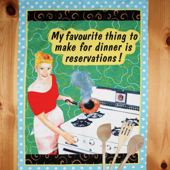 Retro Tea Towel Dinner Reservations 1950 Linen Towel