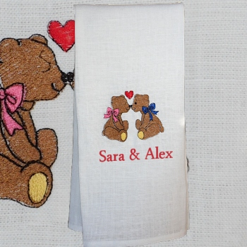 Anniversary Tea Towel Personalised Tea Towel Kissin Bears