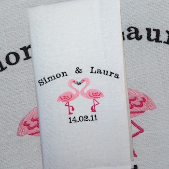 Wedding Tea Towel Flirting Flamingos Personalised Towel