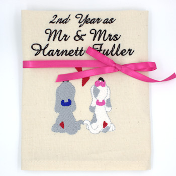 Personalised Wedding Anniversary Gift Puppy Love Tea Towel