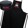 Personalised Apron Set Black Apron and Chefs Hat Skull Motif Gift Set