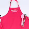 Personalised Girls Apron Hot Pink Kids Apron Embroidered