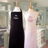 Mr and Mrs Right Aprons Anniversary Black White Apron Set