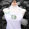 Ladies Personalised Apron Swirl Embroidered Apron White and Lime