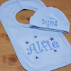Personalised Bib and Hat Baby Blue Hat and Bib Gift Set