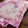 Personalised Baby Blankets Pink Hearts Satin Trim Blanket