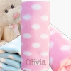 Girls Baby Blanket Pink Polka Dot Personalised Pram Fleece