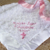 Girls Christening Blanket Personalised White Rosebud Wrap