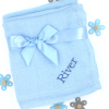 Personalised Muslin Squares Blue Cotton Muslin Gift Set