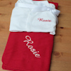 Baby Gift Set Red and White Personalised Blanket and Sleepsuit