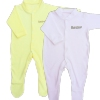 Personalised Baby Sleepsuits White and Yellow Babygrow Gift Set