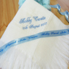 Embroidered Baby Shawl Personalised White Fringe Shawl