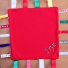 Personalised Comfort Blanket Red Ribbon Baby Taggy