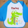 Personalised Baby Bib Sleeved Blue Gator