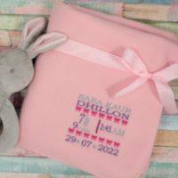 Personalised Baby Blanket Pink Baby Birth Block Gift