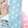 Personalised Baby Blanket Blue Polka Dot Pram Fleece