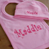 Personalised Bib and Hat Baby Pink Hat and Bib Gift Set