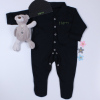 Baby Personalised Gift Black Hat and Sleepsuit