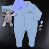 Personalised Baby Gift Blue Sleepsuit and Hat