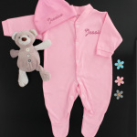 Personalised Baby Gift Pink Sleepsuit and Hat