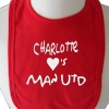 Personalised Baby Bib Message and Heart Embroidered Bib