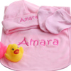 Personalised Baby Hat Set Pink Hat Mitts Bib Gift