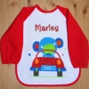 Personalised Baby Bib Sleeved Red Monkey Bib