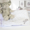 Personalised Baby Blanket White Soft Rosebud Cuddle Blanket