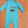 Personalised Baby Onesie Whale Embroidered Romper