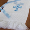 Christening Shawl White Shawl Personalised Blue Cross