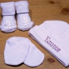 Personalised Baby Hat Set White Hat Mitts Booties Gift