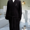 Embroidered Bathrobe Personalised Mens Black Cotton Robe