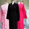 Ladies Personalised Bathrobe Black Terry Cotton Robe