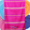 Personalised Beach Towel Pink Striped Swim Towel