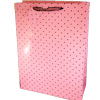 Gift Bag Pink with Black Polka Dots Extra Large